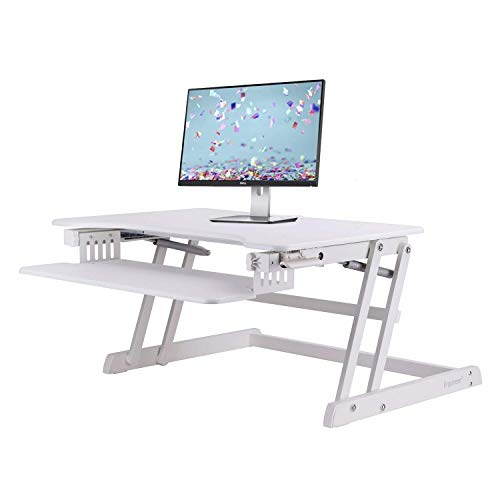 ERGONEER Ergonomic Sit to Stand Desk Computer Workstation | Height-Adjustable Standing Desk Riser with Retractable Keyboard Tray (White)