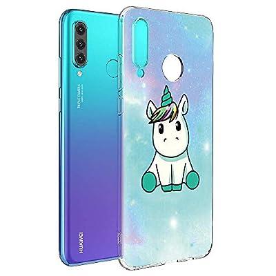 Yoedge Funda Huawei P30 Lite, Ultra Slim Cárcasa Silicona Transparente con Dibujos Animados Diseño Patrón 360 Bumper Case Cover para Huawei P30 Lite Smartphone (Unicornio)
