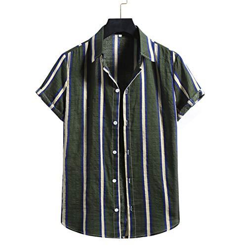 Camisas Linaza De Hombre Camisas Casual Caqui De para Hombre Camisas Deportes De Playa De para Hombre Camisa De Manga Corta con Botones De Impresión Raya para Hombre