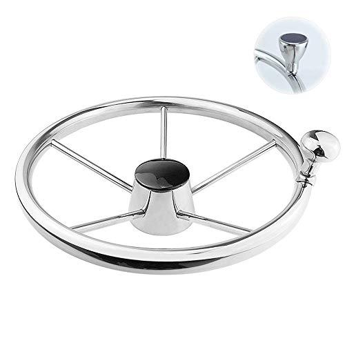 FFYUE Eje cónico estándar, Volante del yate de lancha de velocidades Marinas de Acero Inoxidable, Espejo de Mano Pulido Duradero, 13.5in / 342mm,20 to 22mm