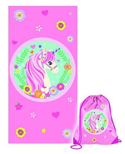 Unicorno Telo Mare o Piscina Originale, Rosa, cm 70x140 con Sacca Americana Rosa in Omaggio Fast Dry