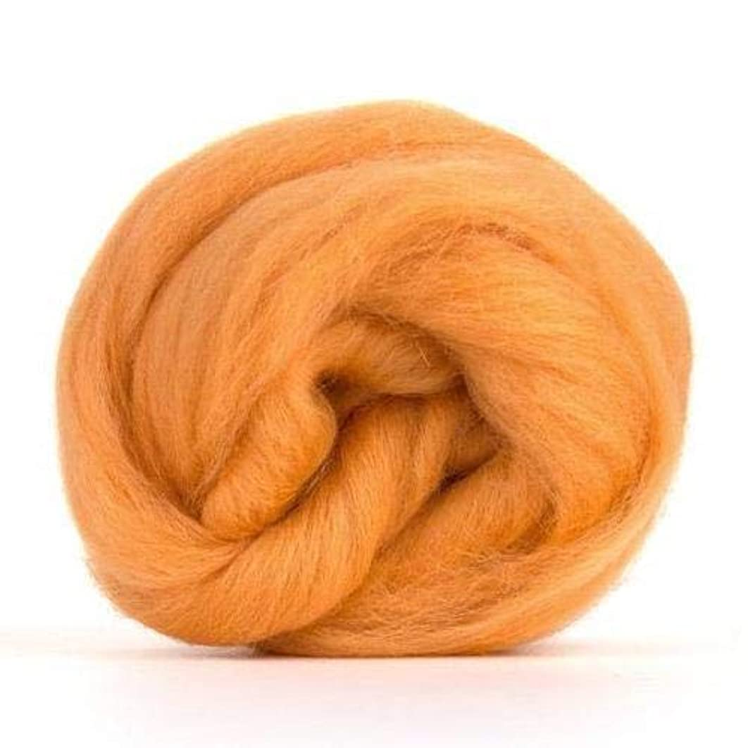 4 oz Paradise Fibers Peach (Orange) Corriedale Top Spinning Fiber Luxuriously Soft Wool Top Roving for Spinning with Spindle or Wheel, Felting, Blending and Weaving