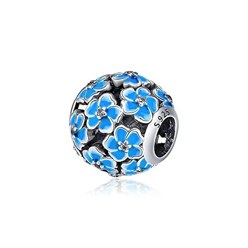 LIIHVYI Pandora Charms para Mujeres Cuentas Plata De Ley 925 Marca Daisy Floral con Joyas En Azul Degradado Compatible con Pulseras Europeos Collars
