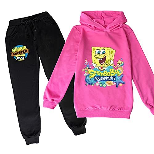 Proxiceen Spongebob Jogging Kleidung Mädchen Baumwolle Spaß Kleidung Kinder Hoodies und Hosen passt Jungen Langarm Hoodies (A5,150)