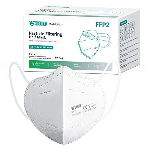 IDOIT 50 Stück FFP2 Mund- und Nasenschutz Masken,CE zertifizierte Partikelfiltermaske mit 5-lagige Filtration,atmungsaktiv,Einzelverpackung