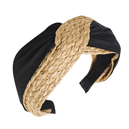 Diadema con nudo cruzado, trenza ancha, turbante, cabeza dura y elegante para mujer (negro)