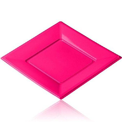 12 grandes assiettes carrées fuchsia jetables PVC souple de 23 x 23 cm