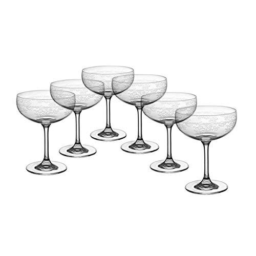 CRISTALICA Sektschale 6er-Set Schaumweinschale Champagner Kristallglas 150ml Panto Floral