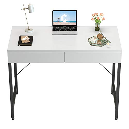 CubiCubi Computer Small Desk, 40 inches with 2 Storage Drawers for Home Office Writing Desk, Makeup Vanity Console Table, White