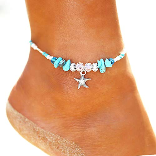 Acedre Boho Starfish Anklets Turquoise Ankle Bracelet Beaded Anklet Beach Jewelry for Women and Girls