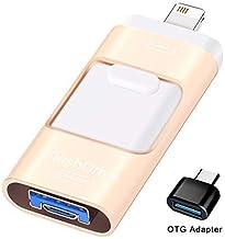 درایوهای فلش Sunany برای آیفون 128 گیگابایت ، لایتنینگ Memory Stick فضای ذخیره سازی خارجی برای iPhone / PC / iPad / Android و دستگاه های بیشتر با درگاه USB (طلای 128 گیگابایت)