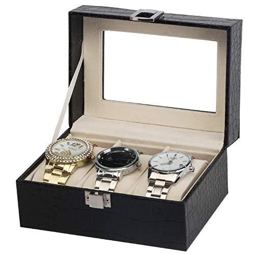 Decoración de Vida Caja de Reloj Caja de Reloj para 3 Relojes PU Compartimentos Grandes Ventana Transparente Cojines Suaves Vitrina de joyería (Color: Negro Tamaño: 15.5 * 11.2 * 8cm)