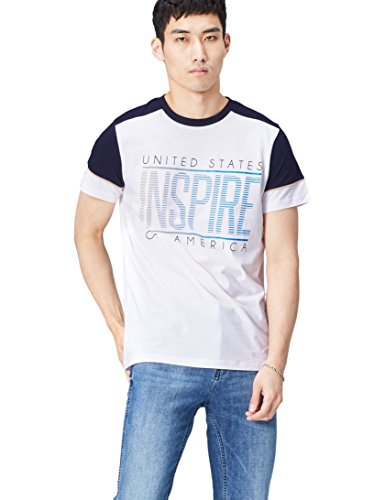 Marca Amazon - find. Camiseta para Hombre, Blanco (White), M, Label: M