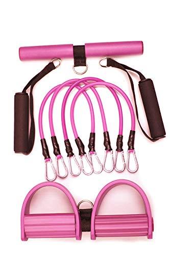 Banda de resistencia de pedal para ejercicio, cuerda elástica de 4 tubos para fitness, para abdomen, cintura, brazo, entrenamiento de adelgazamiento de yoga (rosa)