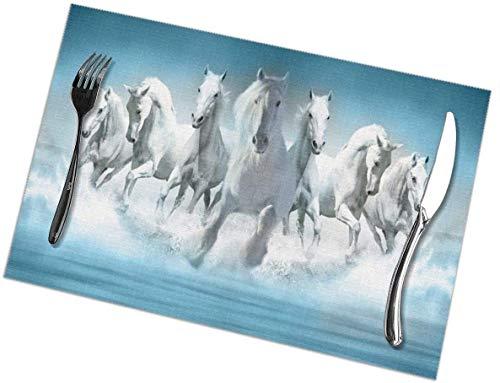 Pizeok Horses Running Prairie Dog - Juego de 6 manteles Individuales Lavables, Antideslizantes, Resistentes a Las Manchas, para Mesa, Antideslizantes, de 12 x 18 Pulgadas para Cocina Dini