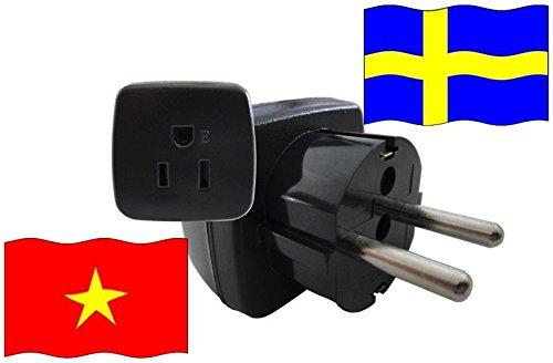 Urlaubs Reiseadapter Vietnam für Geräte aus Schweden Kindersicherung und Schutzkontakt 250 Volt