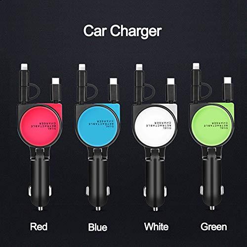 Baceyong - Divisor de toma de mechero de coche, 12 V-24 V, 3 en 1, USB tipo C, adaptador de corriente para teléfono inteligente 3,1 A, micro cargador, color rojo
