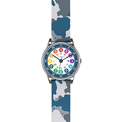 Cander Berlin MNA 1230 C - Reloj de pulsera para niños, reloj de pulsera, diseño de camuflaje azul, resistente al agua