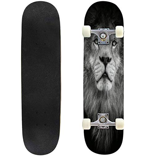 31'' Complete Skateboards Poster Black and White Lion Playing Cards face Stock Pictures Standard Skateboards for Beginners Kids Adults, Maple Double Kick Deck Concave Skate Board Longboard