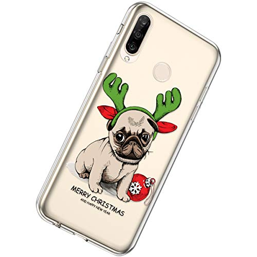 Purchase Herbests Compatible with Huawei P30 Lite Case Ultra Thin Soft TPU Case Christmas Snowflake Series Cute Pattern Silicone Clear Flexible Bumper Crystal Shockproof Back Cover,Dog
