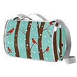 Manta de picnic portátil de 57 x 59 pulgadas, impermeable, para playa, viajes, camping, césped, música, festival, pájaro en árbol de invierno