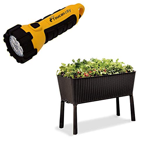 Toucan City LED Flashlight and Keter Easy Grow 44.9 in. W x 29.8 in. H Brown Raised Garden Bed 212157