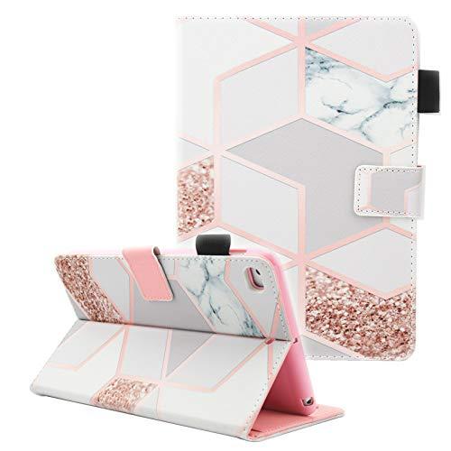Fvimi iPad Mini Case, iPad Mini 2 Case, iPad Mini 3 Case, iPad Mini 4 Case, Multi-Angle Viewing Folio Smart Leather Cover with Auto Sleep/Wake Function for Apple iPad Mini 1/2/3/4, Gird Marble