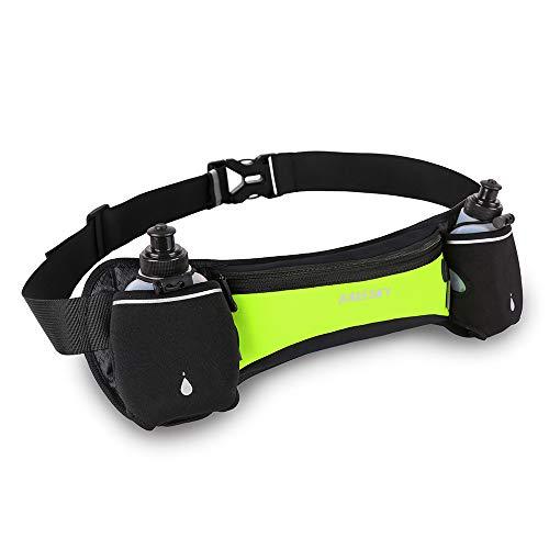 PURROMM Laufband mit Wasserflaschen (2 * 175 ml), Trinkgürtel mit Reflexstreifen, Anti-Scratch-Key-Taschen-Anzug für Marathons, Bewegung und Wandern,Grün