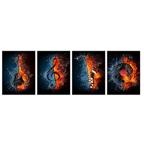 4 Panel Muziek Canvas Schilderij Water&Fire Instrument Serie Foto Print Elektrische Gitaar Muziek Saxofoon Draaitafel Muur Kunst -30x40cmx4 stuks (geen Frame)