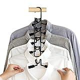 Esthesia Hangers 2 Pack 5 in 1 Multi Layer Hangers Non-Slip Eva Foam Padded Heavy Duty Thick Hanger Closet Storage Detachable Hanger for Suit Coat Shirt Skirt T-Shirt Pants(Space Saver)