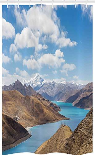 ABAKUHAUS Tibetaans Douchegordijn, River Snowy Mountains, voor Douchecabine Stoffen Badkamer Decoratie Set met Ophangringen, 120 x 180 cm, Pale Brown Pale Blue
