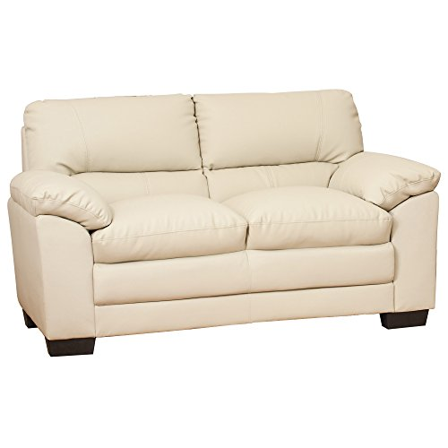 Selena Leather Sofa Suite - 1/2/3/3+2 Seat in Black/Brown/Cream/Grey (Cream, 2 Seat)
