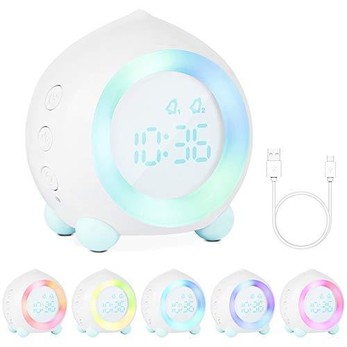 Gobesty Reloj Despertador con luz para niños, Reloj de cabecera sin tictac para niñas con Alarma Dual, iluminación del Estado de ánimo, repetición, simulador de Amanecer (Blanco)