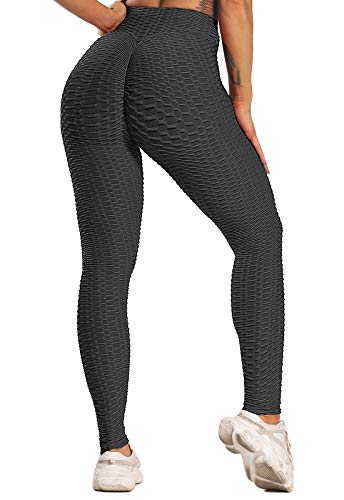 FITTOO Leggings Push Up Mujer Mallas Pantalones Deportivos Alta Cintura Elásticos Yoga Fitness Negro L