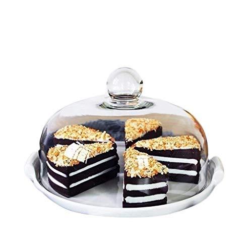 Plato para tarta de frutas y restaurante con tapa de postre para decoración de tartas y bóveda de cerámica blanca con cubierta de cristal (tamaño: 29,5 x 18 cm)