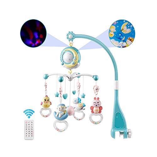 Babybett Crib Mobile mit Lichtern und Musik, Krippe Spielzeug mit Musik und Licht, Fernbedienung, Lampe, Projektor für Pack und Play für Babys Jungen Mädchen Kleinkind Schlaf