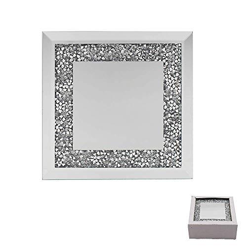 Lesser & Pavey The Leonardo Collection Posavasos de cristal plateado con espejo y borde multicristal, juego de 4 posavasos de cristal