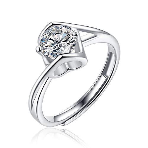 JIARU Anillo de plata de ley 925 para mujer, anillo de compromiso simple y anillo de ángel beso, anillos de boda moissanita de 1 quilate para niña anillo de regalo