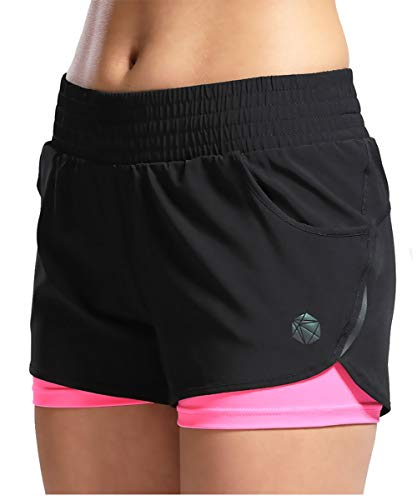 SILIK Womens Short 2 in 1 Running Shorts Sports Jogging Gym Pants with Pockets Pink S
