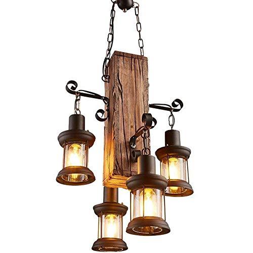 Vintage hanglamp van smeedijzer, industriële lamp met 4 lampen van massief hout, industrieel, geschikt voor restaurants, cafés bar lampen, in hoogte verstelbaar