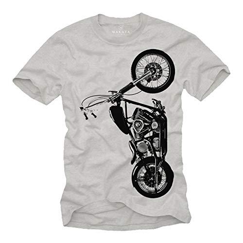 MAKAYA Camiseta Motorista Hombre - T-Shirt con Moto Regalo Gris Talla