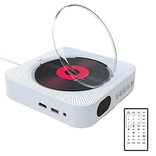 JFF Reproductor De CD/DVD Portátil USB con Bluetooth, Reproductor De Música De CD para Montar En La Pared, Radio FM/Entrada para Auriculares MP3 Salida AUX,Blanco