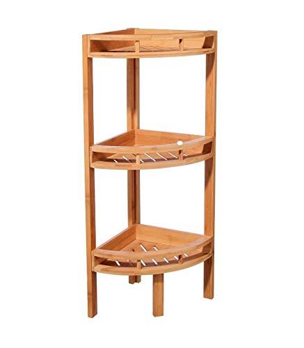 jja Etagère d'angle 3 niveaux bambou 85x29x29cm