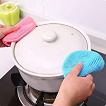 Kitchen Cleaning Tool Brush Rag Pot Brush, Dish Scouring Pad Multifunctional Mat Silicone Fruit and Vegetable Machine Non-...