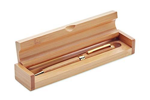Box regalo in legno massiccio con Penna a Sfera in legno di Bamboo naturale ecologico. Inchiostro Blu. Idea regalo donna uomo