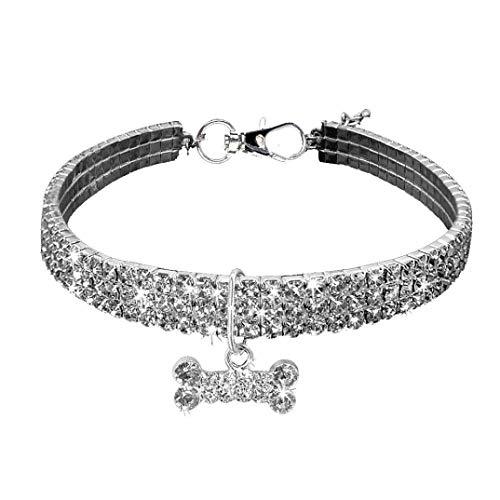 BbearT® Haustier-Halsband, glitzernd, Kristall, elastisch, Strass, Katzenhalsband, Halskette für kleine Hunde