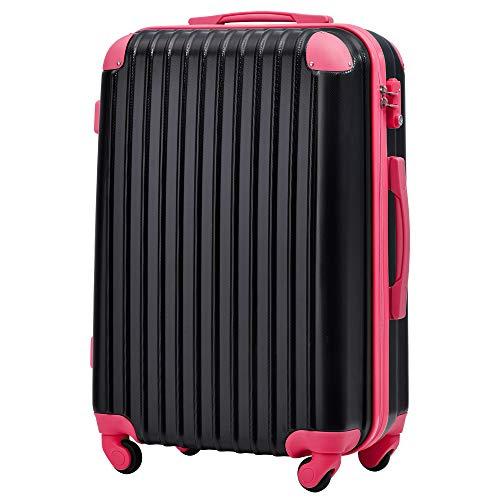 [トラベルハウス] Travelhouse スーツケース 超軽量 TSAロック搭載 機内持込み 国際的 半鏡面 人気色 ファスナータイプ 【一年安心保証】(24色4サイズ対応) (SSサイズ(34L/機内持ち込み可), ブラック+ローズレッド)