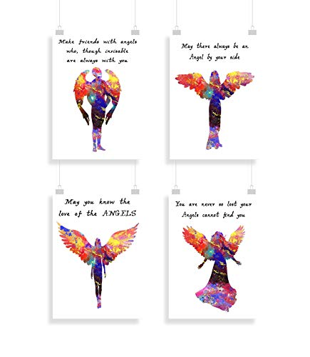 Engel - Einstellen von 4 - Druckt - Inspirier - Zitate - Drucken - Poster - Aquarell - Wandkunst- verschiedene Größen