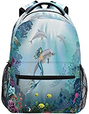 HaJie ryggsäck tropisk fisk ocean sjöjungfru delfin resa dagväska stor kapacitet ryggsäck vardaglig skola bokväska axelremmar dator laptopväska för kvinnor män tonårsflickor pojkar