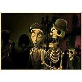 yitiantulong Imprimir Tim Burton's Corpse Bride Tim Burton Johnny Depp Decoración De Muebles para El Hogar Película Retro Cartel Dibujo N586 (50X70Cm) Sin Marco